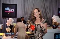 2015 Emmys from Party Pics: Hollywood  Mom star Allison Janney celebrates her win at the backstage McDonald's All Day Breakfast bar.