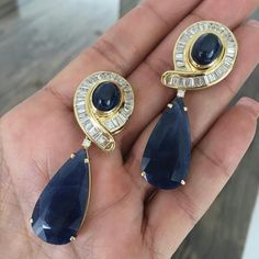Courtesy of Beautiful Sapphire and Diamond earrings, with cabochon sapphire ovals, and large pear shape sapphires, available in our July auction sale. This is an auction not to be missed! The Sapphires, Sapphire And Diamond Earrings, Diamond Jewelry, Diamond Studs, Blue Sapphire, Silver Jewelry, Jewelry Gifts, Fine Jewelry, Jewelry Accessories