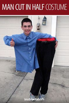 Freak out your friends and neighbors with this man cut in half illusion costume! It's a cheap and easy costume that will have everyone talking! #Halloween #costume #illusion #trick #prank #aprilfools