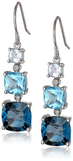 ac593ee9b Sterling Silver London Blue Topaz, Swiss Blue Topaz, Light Blue Topaz and  Diamond Dangle Earrings >>> Learn more by visiting the image link.