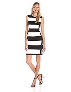 62e7631fd8572 Calvin Klein Women s Color Block Sleeveless Scuba Dress