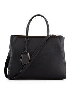 Fendi 2Jours Vitello Elite Shopping Bag, Black - Bergdorf Goodman