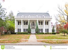 modern plantation style homes | Large Neo-Classical style American home with white brick and a large ...