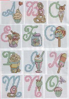 Candy & Ice Cream Alphabet Cross Stitch Patterns