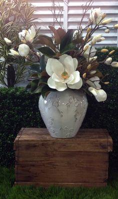 Magnolia and Hydrangea arrangement