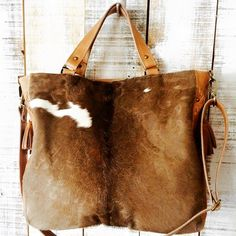 Cow hide purse leather bag brown cowhide bag crossbody by Percibal
