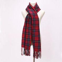 Brand Scarfs Long Tassels Red Plaid Cashmere Woven Warm Pashmina Winter Fashion Shawls For Women