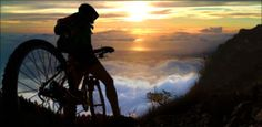 Sunrise bike ride down a volcano.