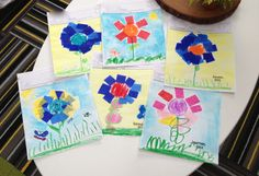 Sampling of our Square 1 Art project for 3-5 year olds. Tissue paper, oil pastels, water color.