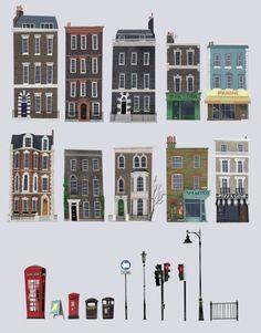 London facade and urban objects ! Bg Design, Prop Design, Minecraft City, Minecraft Designs, Building Illustration, House Illustration, Building Concept, Building Art, Environment Concept Art