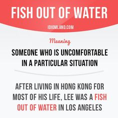 """""""Fish out of water"""" is someone who is uncomfortable in a particular situation. Example: After living in Hong Kong for most of his life, Lee was a fish out of water in Los Angeles. Get our apps for. English Idioms, English Phrases, English Words, English Lessons, English Grammar, English Study, Learn English, Sayings In English, Grammar And Vocabulary"""