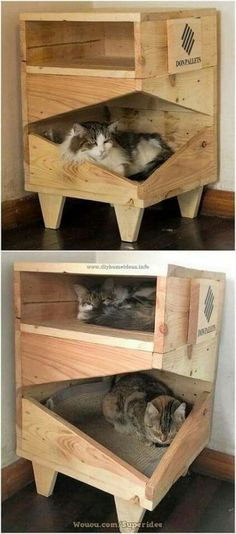 Clever DIY Wooden Pallet Ideas for Your Home - DIY Home Ideas - Quite a unique designing of the cat house structure has been highlighted here that is completely pu - Wooden Pallets, Wooden Diy, Wooden Pallet Ideas, Pallet Seating, Wood Ideas, Pallet Wood, Cat House Diy, Wooden Cat House, Diy Cat Tree