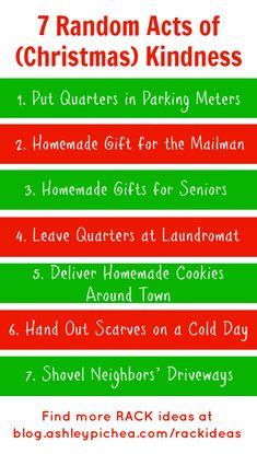 7 Random Acts of (Christmas) Kindness | blog.ashleypichea.com/rackideas