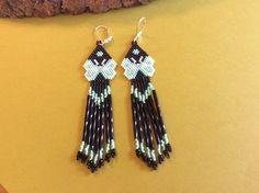 Beaded Earrings Green Butterflies dangles by Bead4Fun on Etsy