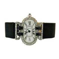 1stdibs   Cartier Ladys Platinum, Diamond and Onyx Art Deco Wristwatch