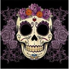 Day of the Dead Sugar Skull with purple roses shower curtain from CafePress. | More Day of the Dead bathroom theme ideas http://www.pottymouthtours.com/day-dead-bathroom-theme/