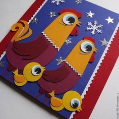 """Купить Новогодняя открытка """"Куриная семейка"""" - Открытка ручной работы, романюк людмила"""