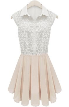 White Sleeveless Embroidery Pleated Lace Dress US$32.00