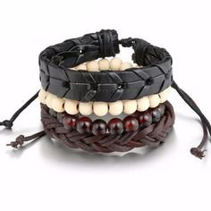 Beaded and Leather Bracelets - 4 Piece Set – jackclass.com