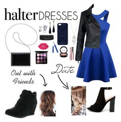 """""""Halter Dresses"""" by hannlzy ❤ liked on Polyvore featuring Chicnova Fashion, Bamboo, Top Moda, Nine West, Bling Jewelry, Lucky Brand, Kenneth Jay Lane, Samantha Warren London, Lime Crime and MAC Cosmetics"""
