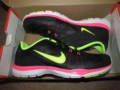 Nike Flex Trainer 5 Womens Running Shoes 7 Black Volt Pink Pow 724858 006 #Nike #RunningCrossTraining