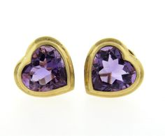 14K Gold Purple Stone Heart Earrings Featured in our upcoming auction on July 26!