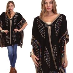 """BLACK BOHEMIAN PRINTED CARDIGAN Stay warm and look beautiful in this one button closure printed poncho cardigan. Gorgeous!  55% ramie 45% cotton.  In stock:  xs/s (2)  36"""" long.  NO TRADES NO PAYPAL Sweaters Cardigans"""