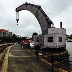 On my way to visit @SSGreatBritain in #Bristol. These cranes along the dockside are spectacular.