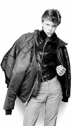 """David Bowie Japan, April 1977 Sukita: """"Elegantly wearing saveral layers of leather jackets; it reminded me of Kenneth Anger's movie Scorpio Rising."""""""