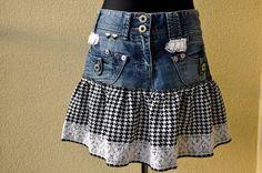 Upcycled Kleidung Jeansrock, Mini, 1980er