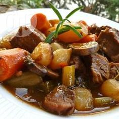 Beef Stew VI - Beef, carrots, potatoes, and celery are seasoned with rosemary and parsley in this simple, stove top beef stew recipe. Beef Stew Stove Top, Food Dishes, Main Dishes, Beef Recipes, Cooking Recipes, Cooking Ham, Cooking Ribs, Cooking Steak, Fall Recipes