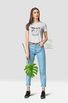 Life is too short to stress yourself about everything. This chilling sloth T-shirt feels soft and lightweight, with the right amount of stretch. Cat Lover Gifts, Cat Lovers, Cat Art Print, Black And White Posters, Funny Outfits, Cat Shirts, Dog Art, Cute Designs, Pet Portraits