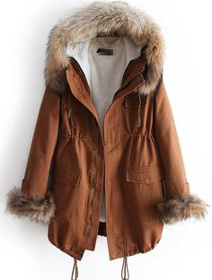 Brown Faux Fur Hooded Coat  #fall #cozy