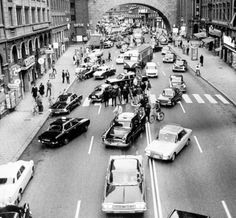 "doyoulikevintage: ""Dagen H (the H Day, in Italian), in which the road traffic in Sweden passed from LHD to RHD, began at 5:00 on September 3, 1967. """