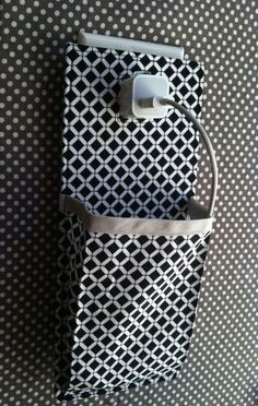 iPhone 5 docking station itouch cell phone Charging Station in black and white geometric pattern with grey trim. $18.00, via Etsy.
