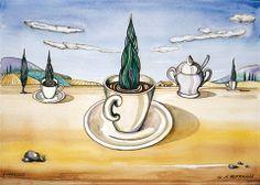 Einer Eingebung folgend, zeichnete ich in der Toskana das Frühstücksgeschirr. Diese Komposition kam dabei heraus. Das Aquarell folgte der Skizze.