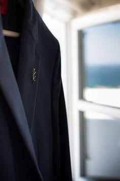 Groom's dark blue suit. Wedding in Skyros island