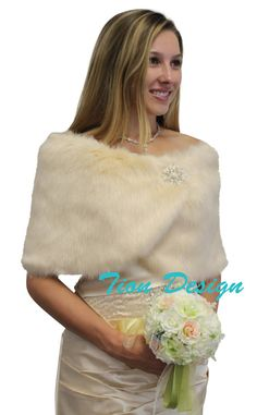 Bridemaid gifts ideas - faux fur wrap champagne, offer volume discount, or other faux fur shrugs, wraps and fur stoles