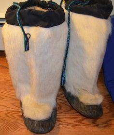 Inuit made polar bear & sealskin kamiks via Sally Curley