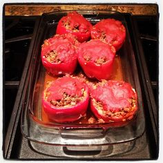 Stuffed peppers are a great meal all packed into one thing. These are packed with venison, squash, tomato, celery, carrots, basil, oregano, garlic, pepper, and Himalayan salt.