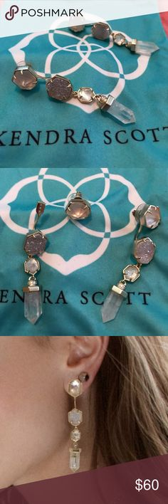 Kendra Scott Gemma ear jacket Clear and crystal druzy stones make up these gorgeous ear jackets. Wear the stud alone too! Kendra Scott Jewelry Earrings