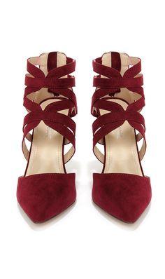Oxblood caged heels
