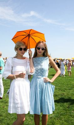 Simply vintage dresses and classic styled sunglasses. www.thecoveteur.com/veuve_clicquot_polo_classic_2013