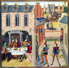 from the century illuminated manuscript of Renaud de Montauban by Loyset Liedet - Medieval Life, Medieval Castle, Medieval Art, Medieval Clothing, Arsenal, Renaissance, Medieval Manuscript, Illuminated Manuscript, Isabella Of Castile