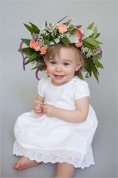 Flower girl with DIY floral crown. Captured By: Natalie Probst Photography #weddingchicks http://www.weddingchicks.com/2014/06/16/this-diy-crown-is-a-must-for-your-flower-girl/