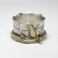 Custom Birds On A Branch Spinner Ring custom made by Janice Art Jewelry