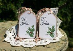 Christmas Gift Tags - Set of 12 Holiday Holly Tags