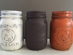 Painted and Distressed Mason Jars, Fall decor, Upcycled and Repurposed Home Decor, Organize and Decorate by DesignCreateInspire on Etsy