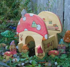 Waldorf Inspired Kids Wooden Mushroom Gnome Home by YoureInspired