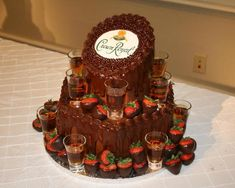 Cake - Crown Royal Cake. Just change the Label on top to a REAL Bottle (Duh - full).